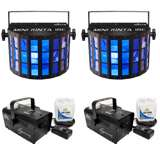 Chauvet DJ Mini Kinta IRC Lighting Effect (2 Pack) & Hurricane 700 Fog Machine (2 Pack)