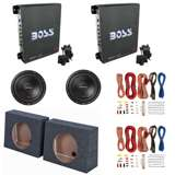 "Boss 1100W Amp (2 Pack) & 10"" Subwoofer (2 Pack) & 10"" Sealed Sub Box (2 Pack) & Wiring Kits"
