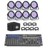 American DJ Mega Flat Pak 8 Plus Mega Par System + Chauvet Obey 6 DMX Controller