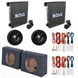 "Boss 1100W Amp (2 Pack) & 12"" 1600W Subwoofer (2 Pack) & 12"" Sub Box (2 Pack) & Wiring Kits"