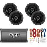 Kicker 6.5-Inch 100W Speakers (Pair)+ 1600W Amplifier + 8 Gauge Wiring
