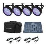Chauvet SlimPar 64 LED Pro DJ RGB Lights (4 Pack) w/ Obey 3 Controller & CHS-SP4 Light Case