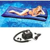 New Swimline 9057 Pool Inflatable Fabric Covered Mattress w/ 110 Volt Air Pump
