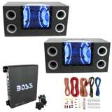"Pyramid 10"" Box Subwoofers (2 Pack) & Boss Riot Amplifier & Soundstorm Wire Kit"