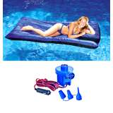 Swimline Pool Inflatable Fabric Covered Mattress w/ 12V Air Pump | 9057 + 19150