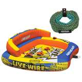 Airhead Inflatable 1-3 Rider Tube with 50-60 Foot Tow Rope