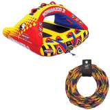 Airhead Poparazzi 2 Rider Wing-Shaped Towable Tube w/ Tow Rope