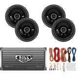 Kicker 6.5-Inch 100W Speakers (Pair)+ 1600W Amplifier + 8 Gauge Wiring