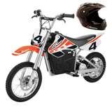 Razor MX650 Electric Dirt Rocket Bike + Razor Youth Full Face Riding Sport Helmet - Glossy Black
