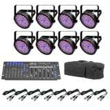 Chauvet SlimPar 56 LED Par Can Lights + Obey 6 Controller + Bag + Cables