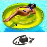"Swimline Pool 72"" Island Float Lounger w/ 110 Volt Air Pump | 9050 + 9095"