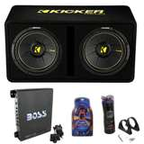 "Kicker 44DCWC122 12"" 1200W Car Subwoofers Sub Enclosure + Amp + Capacitor + Wire"