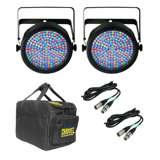 (2) Chauvet SlimPar 64 LED Slim Par Can Light Effects w/ Cables & Case