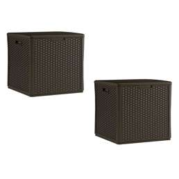 Suncast 60 Gallon Resin Wicker Design Storage Cube, Java, 2 Pack