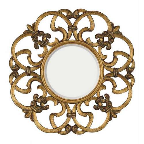 Majestic Mirror Gold Decor Round Frame Bevel Glass 30 in Wall Mirror ...