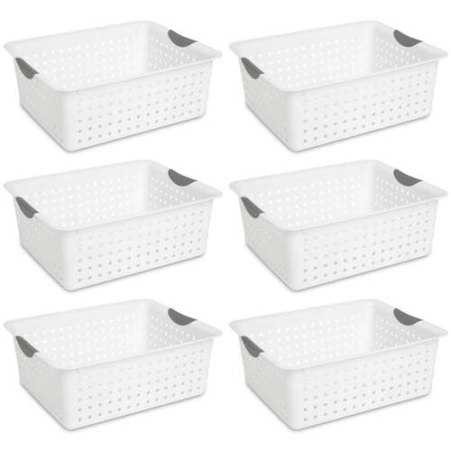 6 sterilite large ultra plastic storage bin baskets white open box