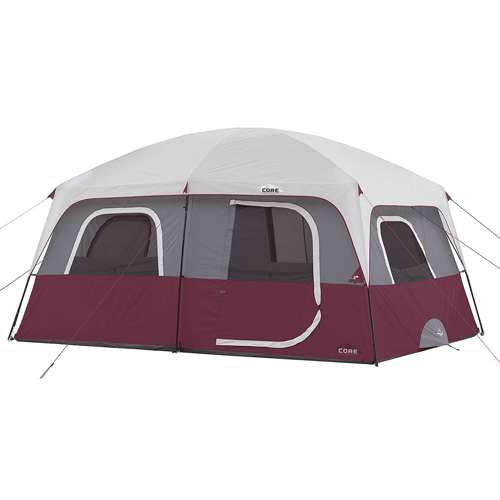 Core Outdoor Straight Wall Family Camping 10 Person Cabin