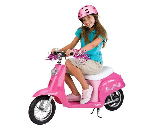 15130659 + 97783 + 96785 Razor Pocket Mod Electric Sweet Pea Scooter with Helmet, Elbow & Knee Pads