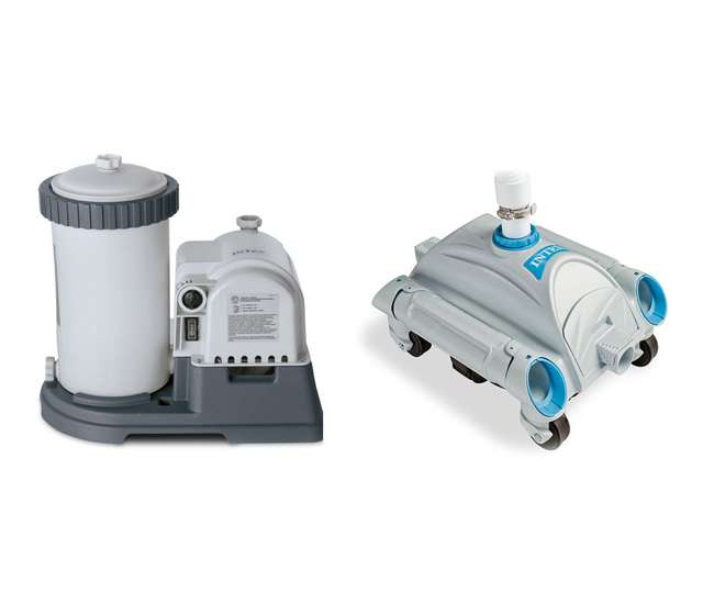 Intex 2500 Gph Filter Cartridge Pump With Timer And Intex Automatic Above Ground Pool Vacuum