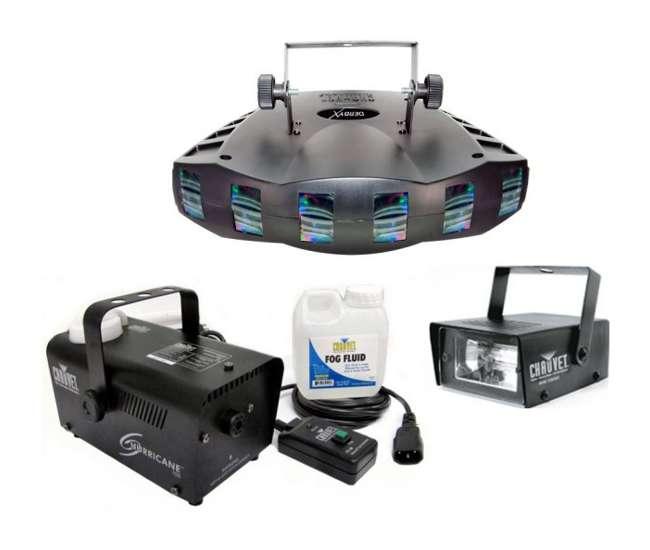 DERBY-X + H700 + MINISTROBE-LED Chauvet DJ DERBY X RGB DMX Pro DJ Strobe Light + H700 Fog Machine + Strobe Light