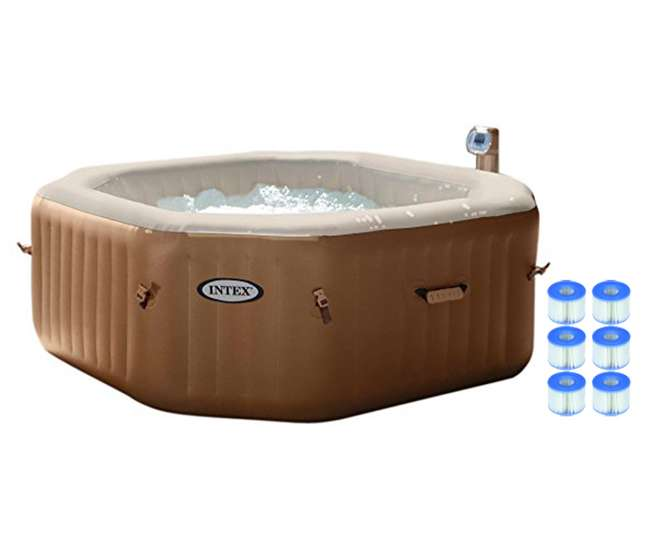 intex pure spa 4 person octagon bubble hot tub with six filter cartridges 28413e 3 x 29001e. Black Bedroom Furniture Sets. Home Design Ideas