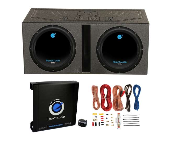 AC12D + QBOMB12V + AC15001M + AKS8 Planet Audio 12-Inch 1800W Subwoofers with Vented Lined Box Enclosure, Amp and Wiring Kit