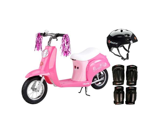 15130659 + 97778 + 96785 Razor Pocket Mod Mini Electric Scooter Bundle w/ Black Helmet & Elbow, Knee Pads