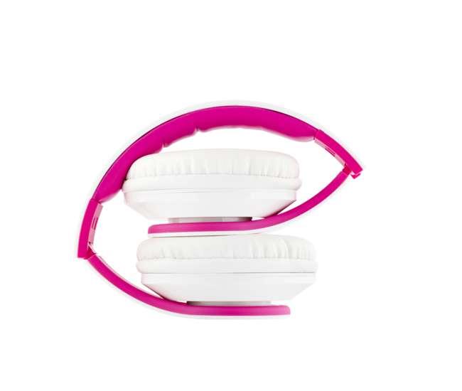 EXHB200-WT-PKVM Audio Elux Over-Ear Hyperbass Headphones - Piano White/Pink