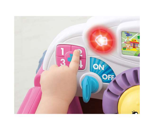 DJD10 Fisher-Price Laugh & Learn Crawl Around Car Baby Activity Learning Toy, Pink