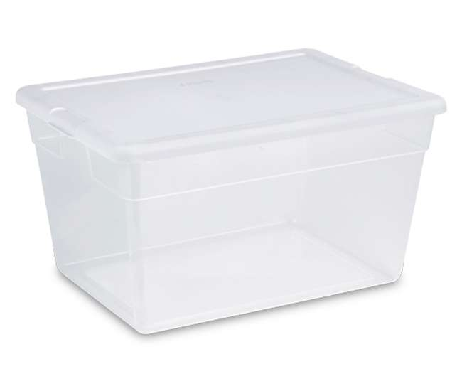 8 x 16598008 Sterilite 16558008 Lidded 28 Quart Clear Bin Home Storage Box Tote Container