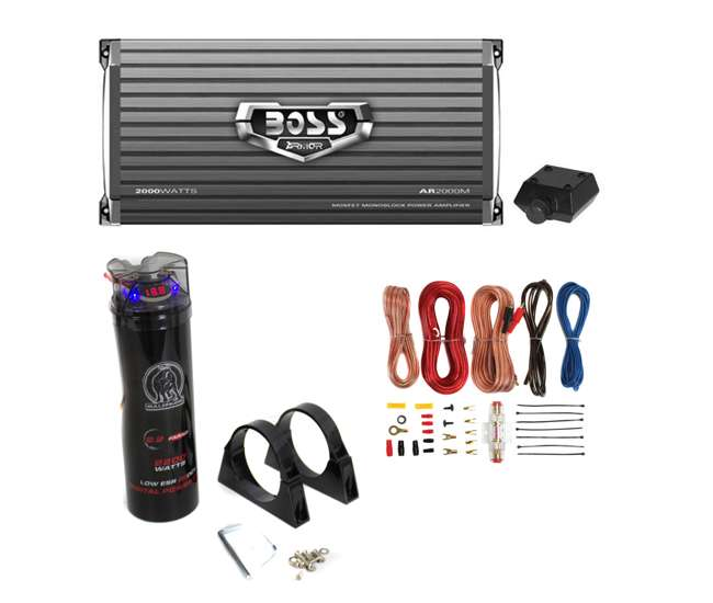 AR2000M + BCAP2.2 + AKS8 Boss AR2000M 2000W Mono Amplifier with Remote + 2.0 Farad Capacitor + Amp Kit (Package)