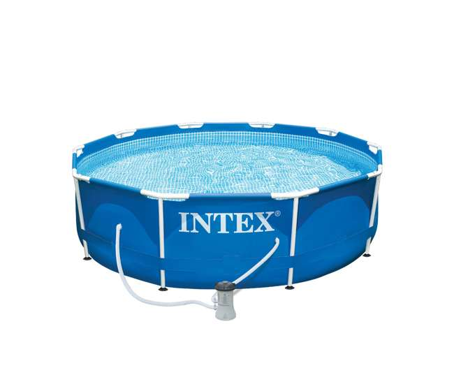 Intex 10 X 2 5 Foot Frame Swimming Pool Set With Filter Pump And Cover 28201eh 28030e