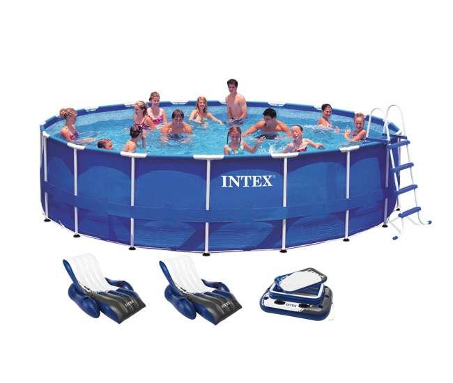 Intex 18 39 X 48 Metal Frame Swimming Pool Deluxe Set W 1500 Gfci Pump 28251eh 2 X 58868ep