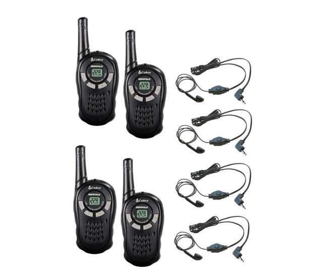 CX110 + 4 x GA-EBM2 Cobra CX110 16 Mile 22 Channel Walkie Talkie 2-Way Radios (4) + Headsets (4)