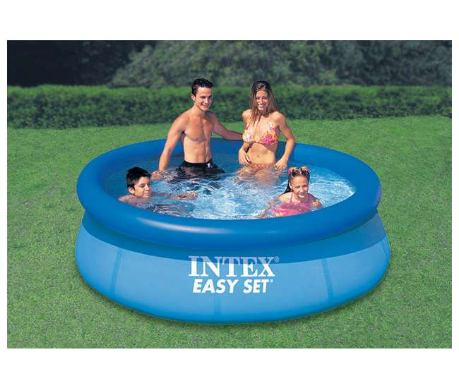 Intex 8 39 X 30 Inch Easy Set Inflatable Swimming Pool With 330 Gph Filter Pump 28110eh