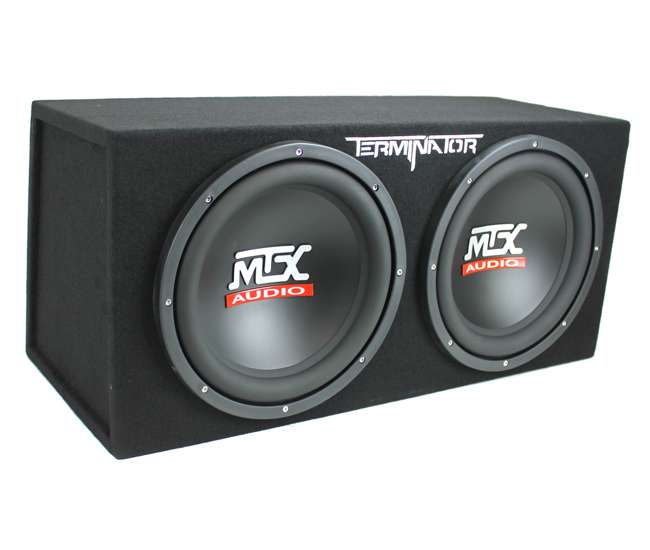 "TNE212D + EV1500M + AKS8 MTX 12"" 1200W Dual Loaded Car Audio Subwoofers with Box Enclosure Package"