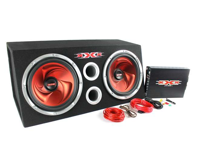 XBX-1200 XBX1200 Dual Subs with Amplifier Kit and Enclosure 1200W