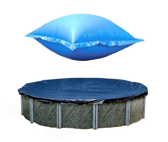 PCO827 + ACC48 Swimline 24 Ft Round Above Ground Winter Pool Cover w/ 4'x8' Closing Air Pillow