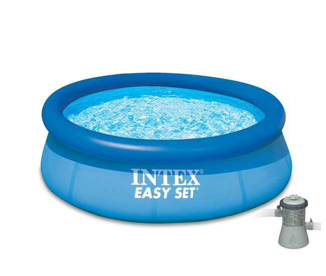 Intex 8 39 x 30 inch easy set inflatable swimming pool with 330 gph filter pump 28110eh for Intex swimming pools clearance