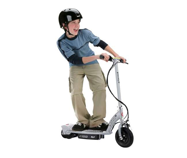 13181112 + 97778 + 96785 Razor E100 Kids Motorized 24V Electric Scooter with Helmet, Elbow & Knee Pads