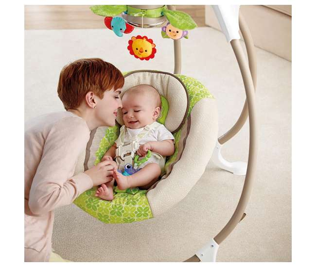 X7340-U-A Fisher Price Rainforest Friends Deluxe Baby Cradle & Swing w/ Music   X7340