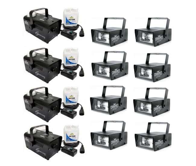 4 x H700 + 8 x MINISTROBE-LED Chauvet H 700 Hurricane Fog/Smoke Machines H-700 (4) + CH-730 Mini Strobe Lights (8)