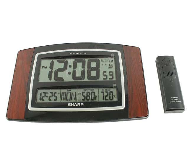SHARP-CLOCKEXPRESSO-SPC900WGSHARP SPC900WG Digital Atomic Wall Clock w/ Wireless Indoor & Outdoor Temperature Sensor