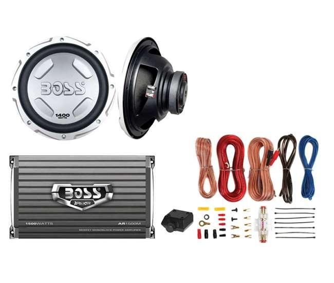 CX122 + AR1500M + AKS8 Boss Audio Chaos CX122 12-Inch 2800W Power Subwoofer Woofer Pair (Pair)