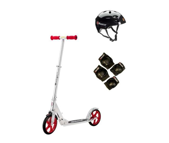 13013201 + 97778 + 96771 Razor A5 Lux Scooter (Red) with Helmet, Elbow, & Knee Pads