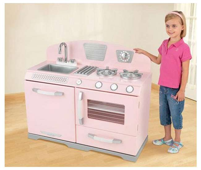 KidKraft Pink Retro Kitchen Stove & Oven Girls Play Set