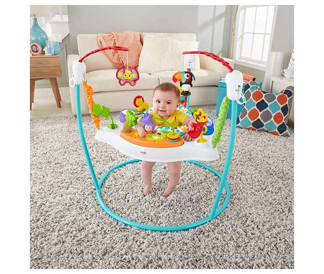 FFJ00 Fisher-Price Colorful Light Up Comfy Animal Activity Baby Jumperoo Bouncer Toy