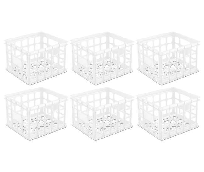 6 x 16928006 Sterilite Plastic White Storage Box Crate Container (6 Pack)