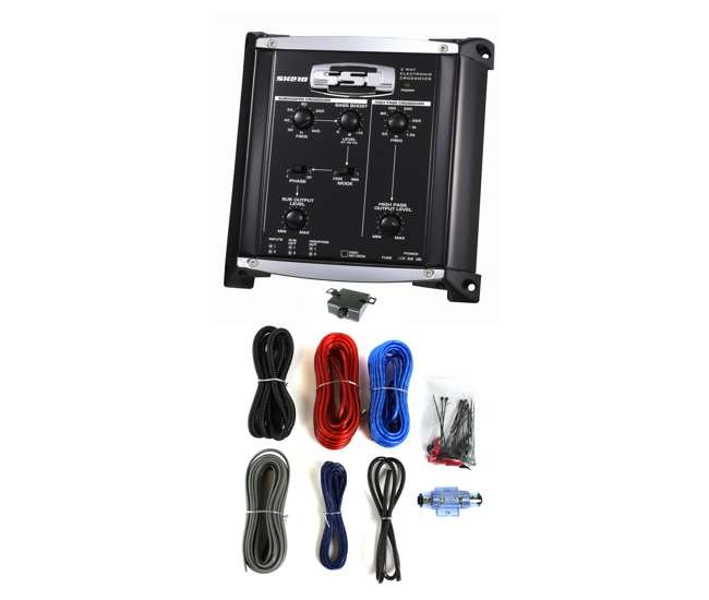 SX210 + KIT2Soundstorm SX210 2 Way Electronic Crossover Xover with Remote with 8 Ga Amp Kit