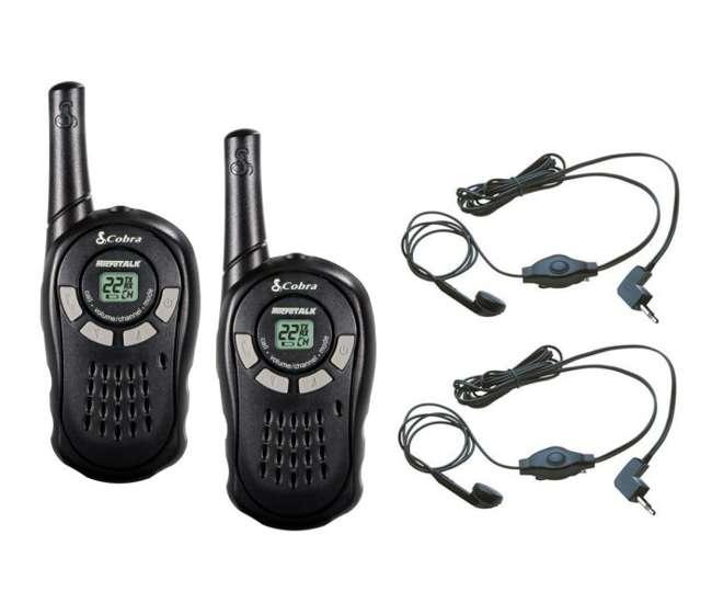 CX110 + 2 x GA-EBM2Cobra CX110 16 Mile 22 Channel Walkie Talkie 2-Way Radios (2) + Earbud/Mic Sets (2)